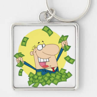 Man with a lot of money keychain