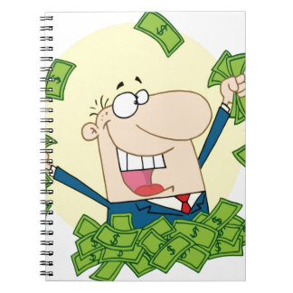 Man with a lot of money note book