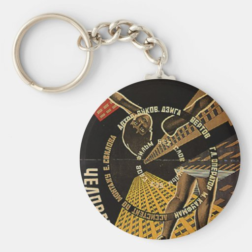 Man with a Movie Camera Poster Basic Round Button Keychain