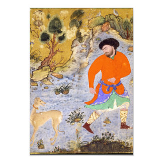 Man with a Saluki by Shaykh Muhammad in 1555 Card