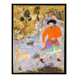 Man with a Saluki by Shaykh Muhammad in 1555 Photographic Print