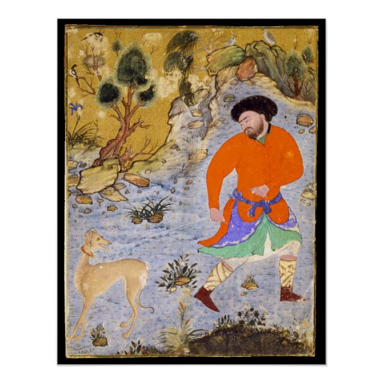 Man with a Saluki by Shaykh Muhammad in 1555 Poster