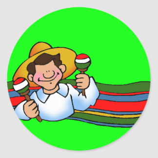 Man with a set of Maraca Classic Round Sticker