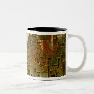 Man with a Wheelbarrow Two-Tone Coffee Mug