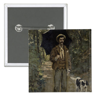 Man with an Umbrella, c.1868-69 2 Inch Square Button