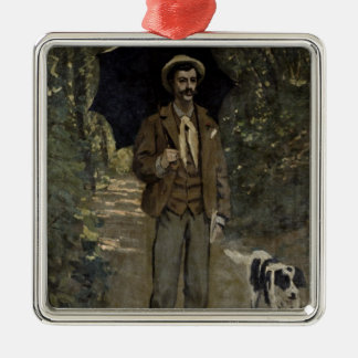Man with an Umbrella, c.1868-69 Square Metal Christmas Ornament