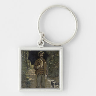 Man with an Umbrella, c.1868-69 Silver-Colored Square Keychain
