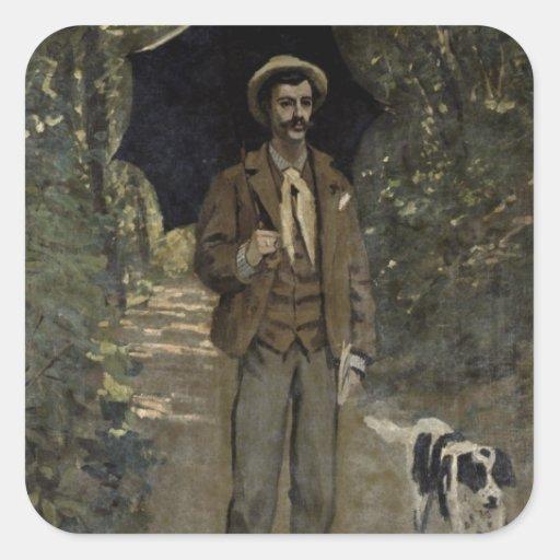 Man with an Umbrella, c.1868-69 Square Sticker