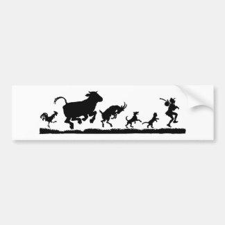 Man with animals silhouette bumper sticker