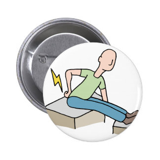 Man with back pain problem pinback button