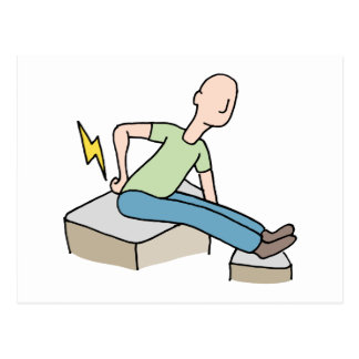 Man with back pain problem postcard