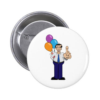 Man with Balloons Pinback Button