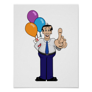 Man with Balloons Poster