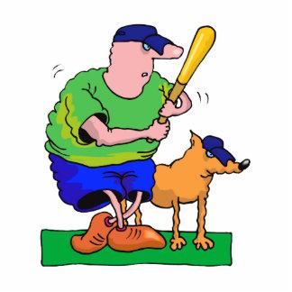 man with bat and dog cutout