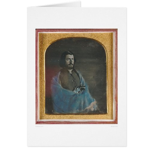 Man with blue cloak and revolver (40455) greeting cards