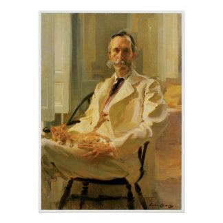 Man with Cat, 1989 Cecilia Beaux Poster