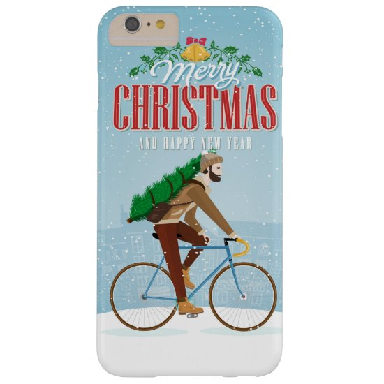 Man with Christmas Tree Riding Bicycle Barely There iPhone 6 Plus Case