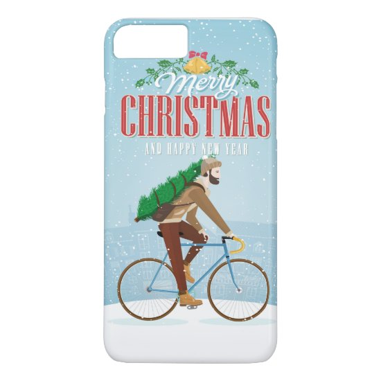 Man with Christmas Tree Riding Bicycle iPhone 7 Plus Case