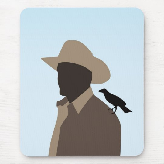 Man with crow on his shoulder mouse pad