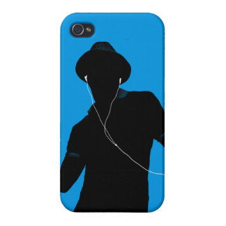 Man with earplugs Ipodvintage ad on Iphone 4 case