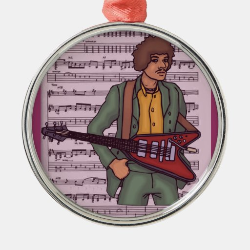 Man with Electric Guitar ~ Rock Music Christmas Ornaments