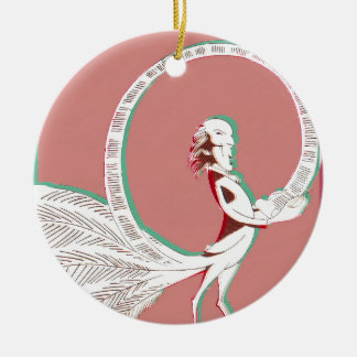 Man with feathers ceramic ornament