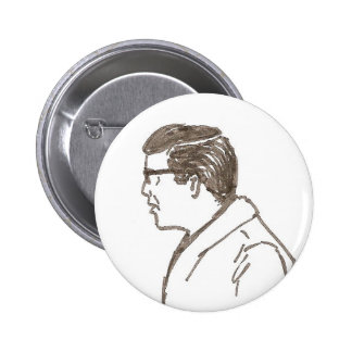 man with glasses button