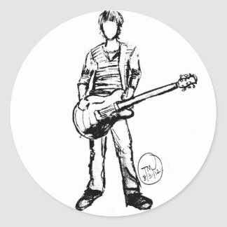 Man with Guitar Classic Round Sticker