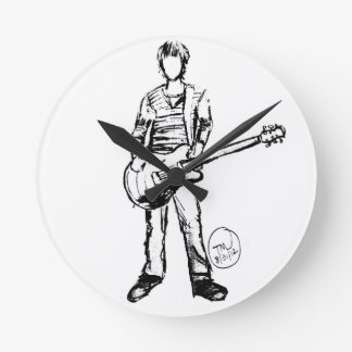 Man with Guitar Round Clock