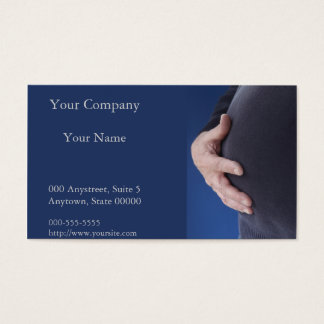 man with hand on his overweight belly business card
