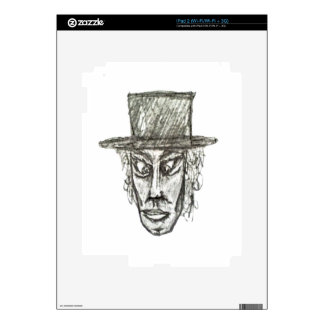 Man with Hat Head Pencil Drawing Illustration Decals For The iPad 2