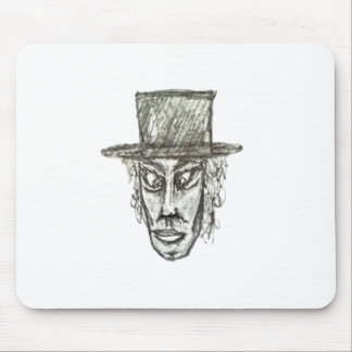 Man with Hat Head Pencil Drawing Illustration Mouse Pad