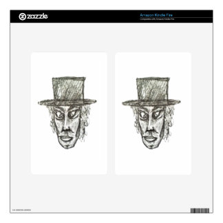 Man with Hat Head Pencil Drawing Illustration Skin For Kindle Fire
