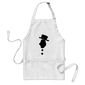 man with hat silouette black and white adult apron
