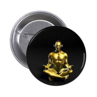 Man with Headphones Listening to Music Meditating Button