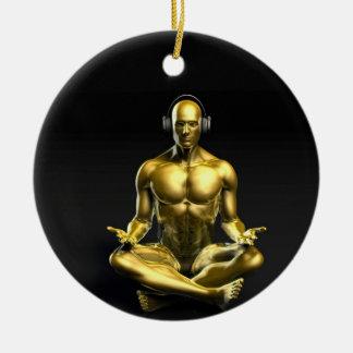 Man with Headphones Listening to Music Meditating Ceramic Ornament
