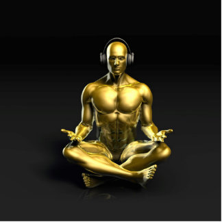 Man with Headphones Listening to Music Meditating Cutout