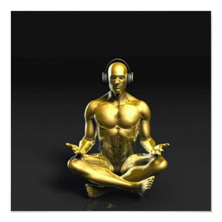 Man with Headphones Listening to Music Meditating 5.25x5.25 Square Paper Invitation Card