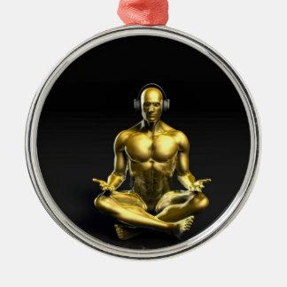 Man with Headphones Listening to Music Meditating Metal Ornament