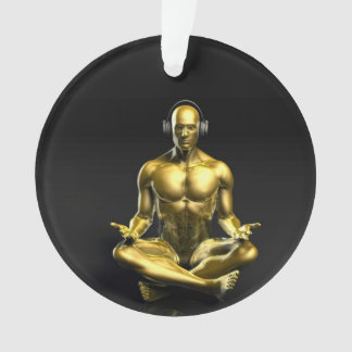Man with Headphones Listening to Music Meditating Ornament