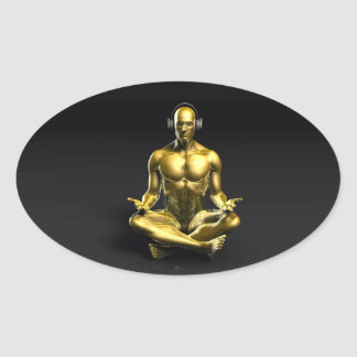 Man with Headphones Listening to Music Meditating Oval Sticker
