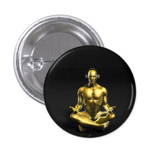 Man with Headphones Listening to Music Meditating Pinback Button
