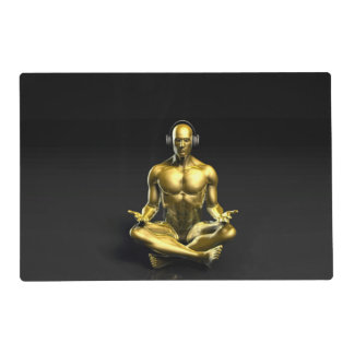 Man with Headphones Listening to Music Meditating Placemat