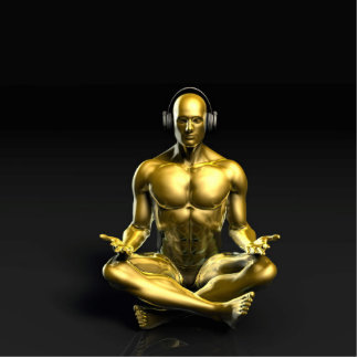 Man with Headphones Listening to Music Meditating Statuette