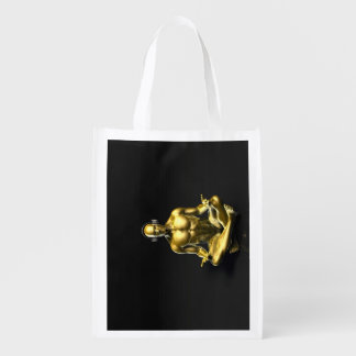 Man with Headphones Listening to Music Meditating Market Tote