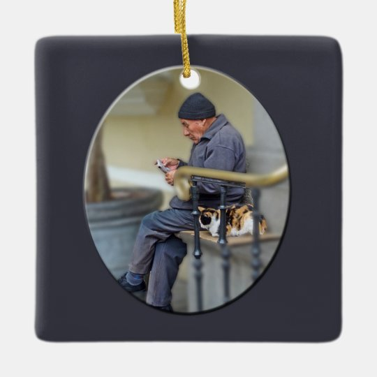Man with His Cat - Reading the Newspaper Ceramic Ornament