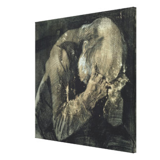 Man with his head in his hands canvas print