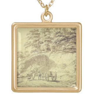 Man with Horse and Cart Entering a Quarry, c.1797 Gold Plated Necklace