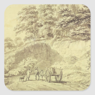 Man with Horse and Cart Entering a Quarry, c.1797 Square Sticker