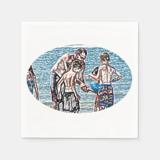 man with kids on beach sketch disposable napkin